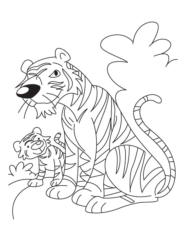 612x792 Mother Tiger And Baby Tiger Cub Coloring Page Download Free