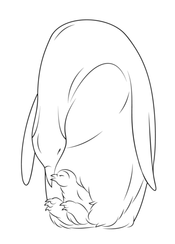 345x480 Baby Penguin With Mother Coloring Page Free Printable Coloring Pages