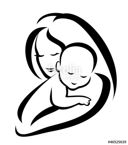 440x500 Mother And Baby Vector Symbol Stock Image And Royalty Free Vector