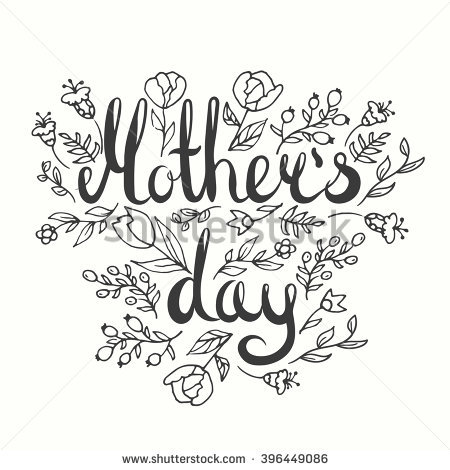 450x470 Mother's Day Lettering Card. Modern Calligraphy Card. Doodle