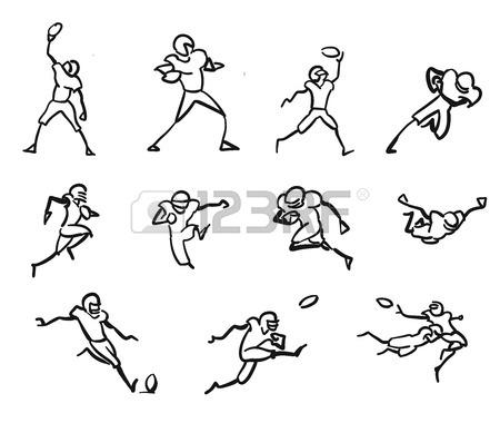 450x380 American Football Player Motion Sketch Studies, Hand Drawn Vector