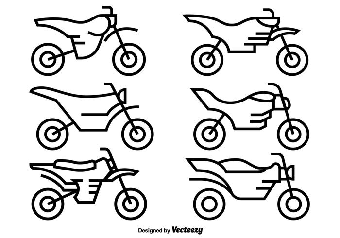 700x490 Vector Icons Of Motocross Motorcycles