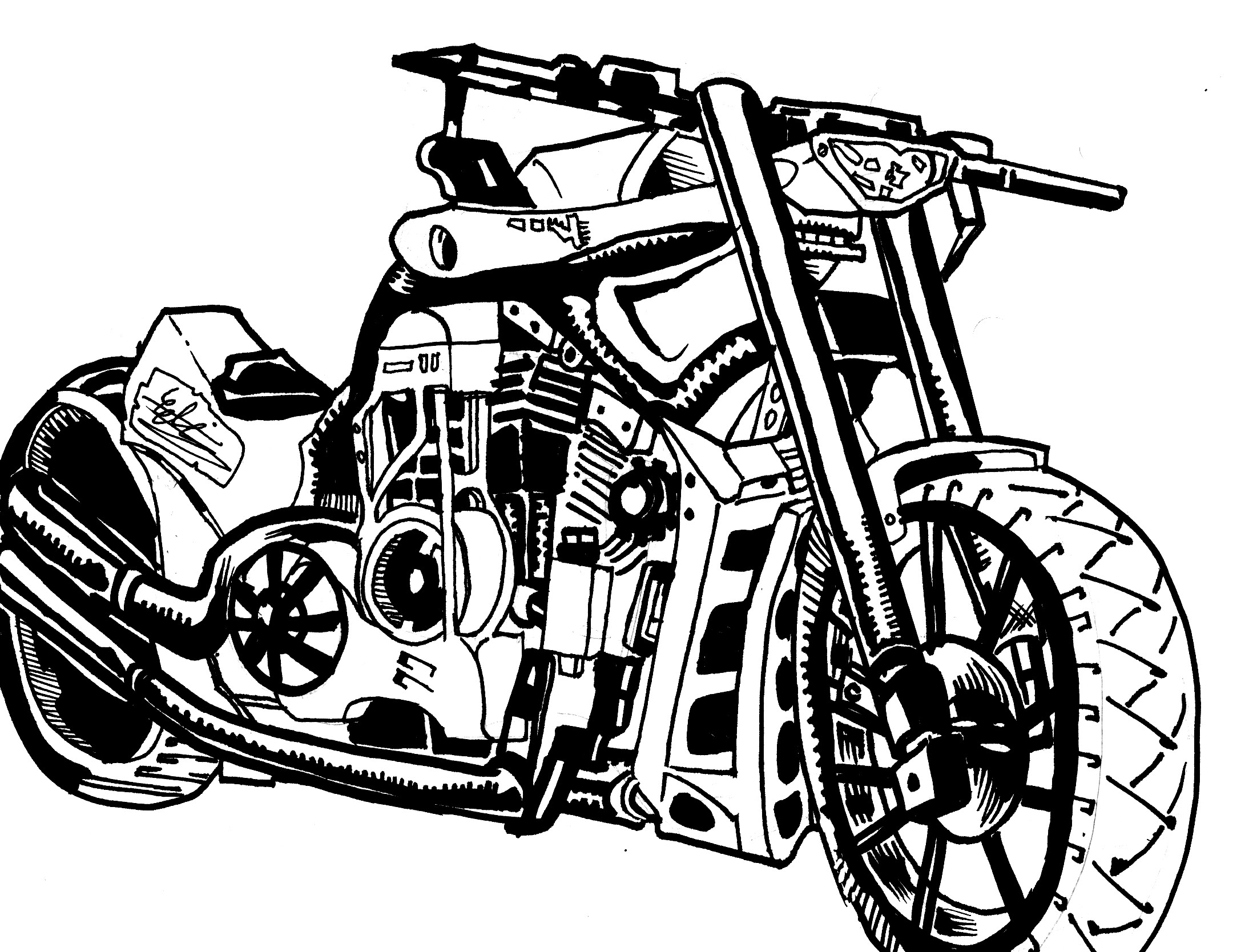 2195x1668 Motorcycle Sketch Speed Drawing (Pencil Sketch To Inks)