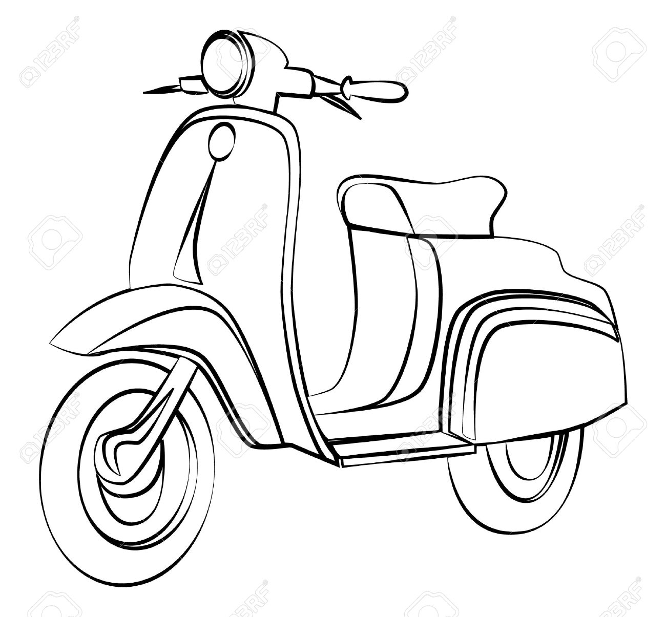 1300x1205 Scooter Outline Royalty Free Cliparts, Vectors, And Stock