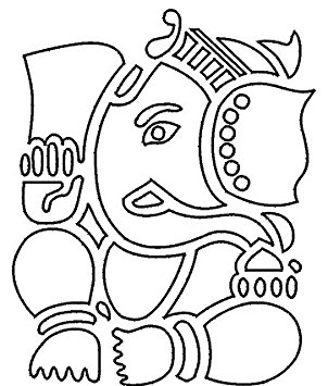 302x355 Elephant Face Ganesh Hindu God Outline , Vinyl Stickers , Sticker