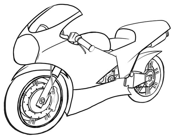 600x483 Classy Motor Cycle Drawing A Cartoon Motorcycle