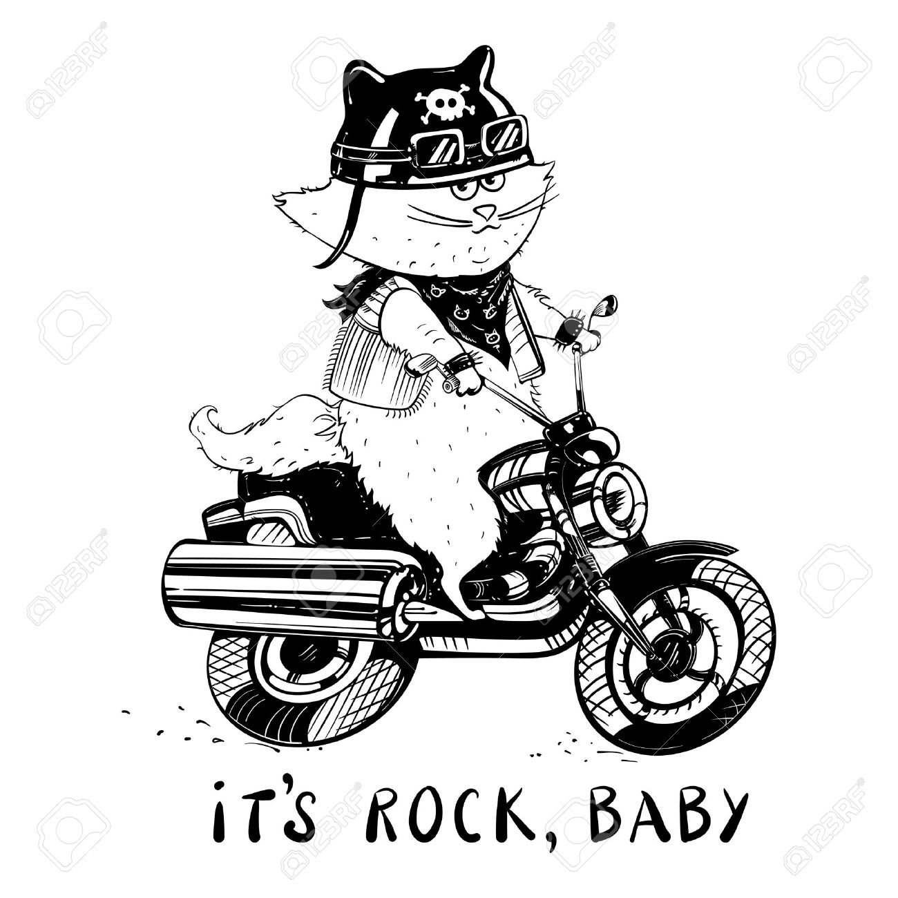 1300x1300 Funny Cat On A Motorcycle. Cat Biker In A Cartoon Style. Cute