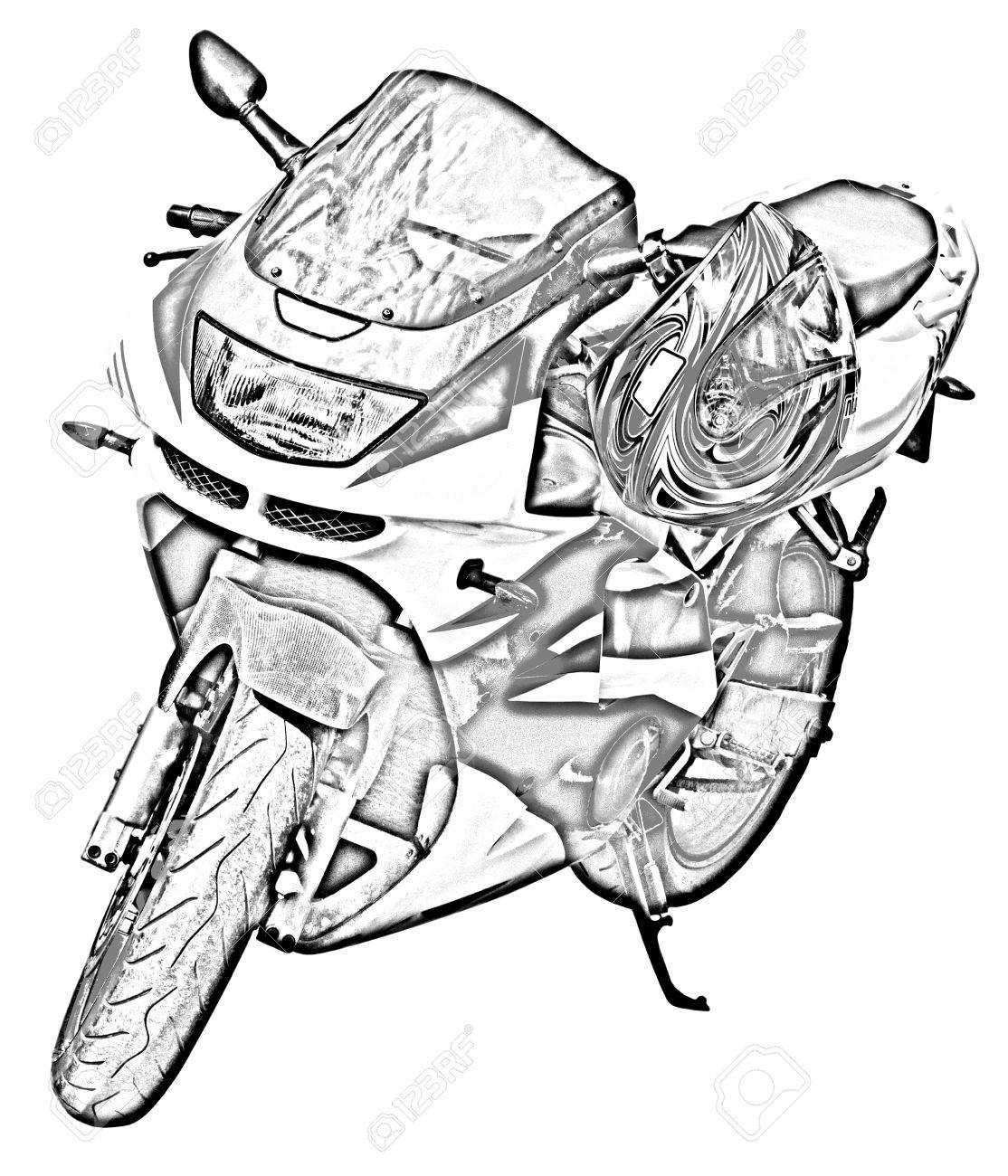 1114x1300 Motorcycle Drawing Stock Photo, Picture And Royalty Free Image