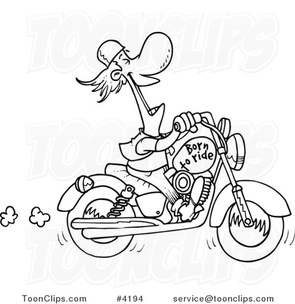 581x600 Cartoon Black And White Line Drawing Of A Biker Laughing On His