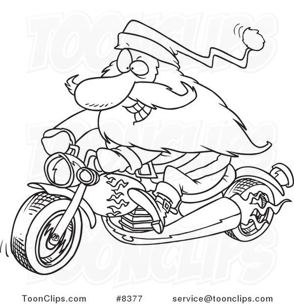 581x600 Cartoon Blacknd White Line Drawing Of Biker Santa On