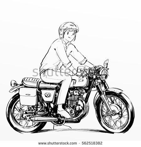 450x470 Boy Riding Motor Cycle, Illustration, Cartoon Style,hand Writing