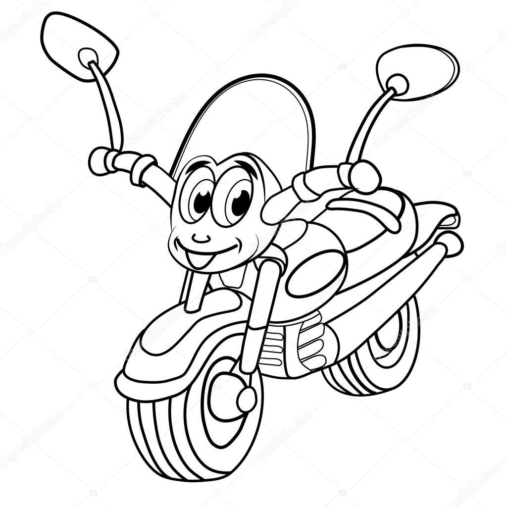 1024x1024 Cartoon Of Merry Motorcycle Stock Vector Vitasunny
