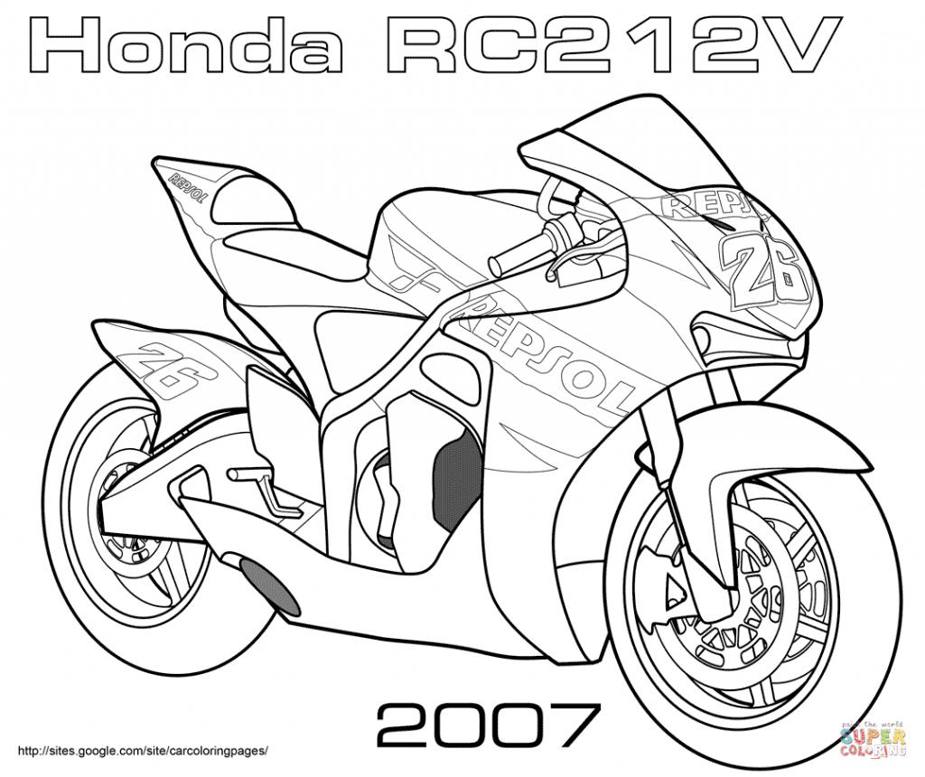 1024x860 Free ~ Motorcycles Coloring Pages Honda Rc V Road Racing Bike