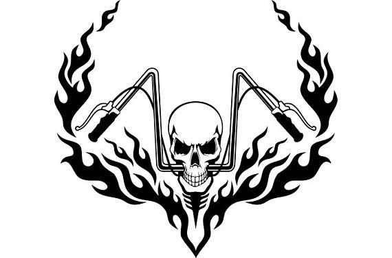 570x375 Motorcycle Logo 7 Skull Chopper Handle Bars Flames Bike Biker