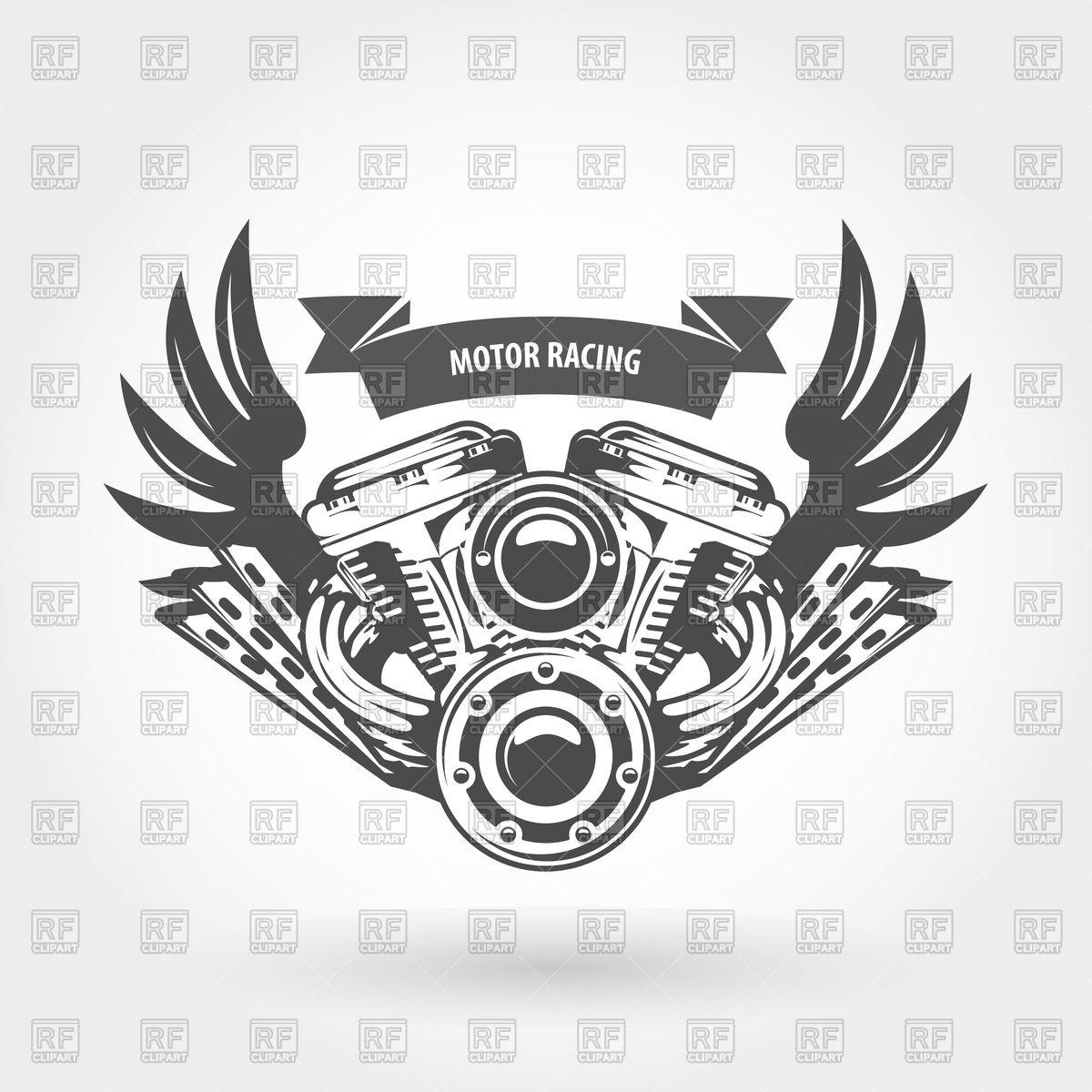 1200x1200 Winged Motorcycle Engine Emblem