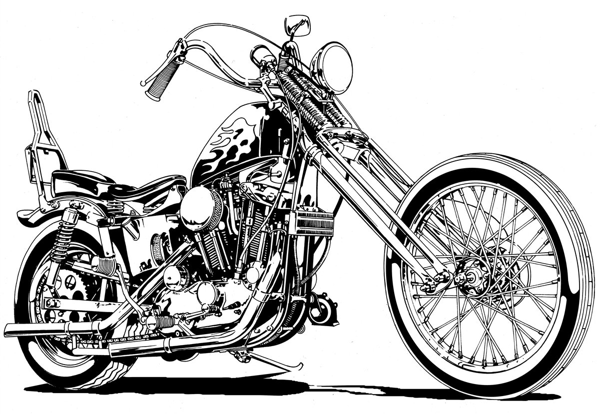 1201x829 Harley Sportster Chopper Motorcycle Clipart, High Quality Illutration