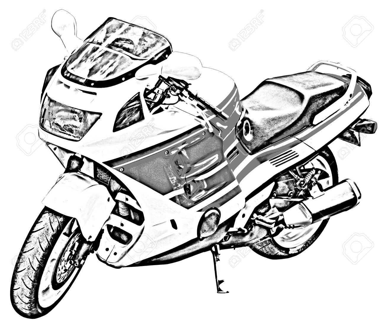 1300x1103 Motorcycle Drawing Stock Photo, Picture And Royalty Free Image