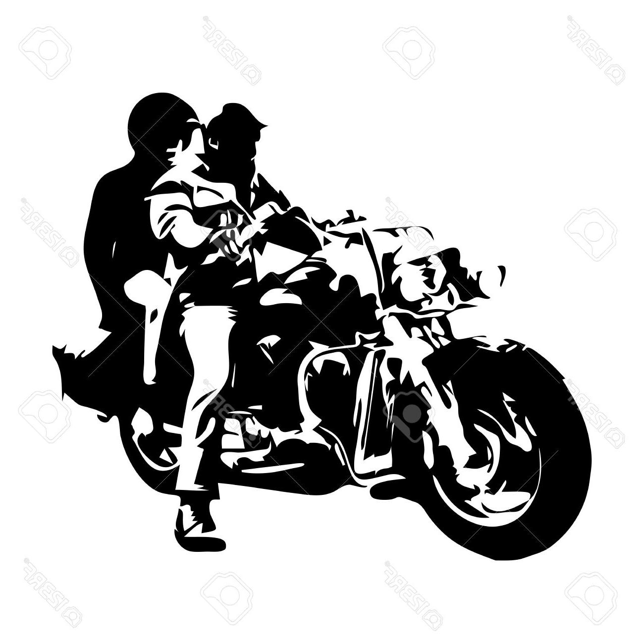 1300x1300 Best 15 Motorcycle Chopper Couple On Motorbike Vector Drawing
