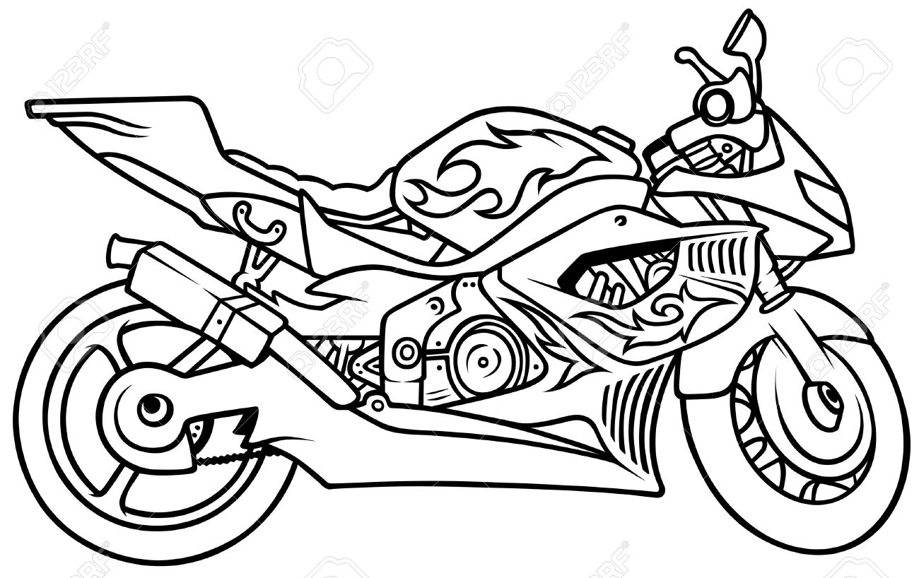 1300x818 Drawn Motorcycle Black And White
