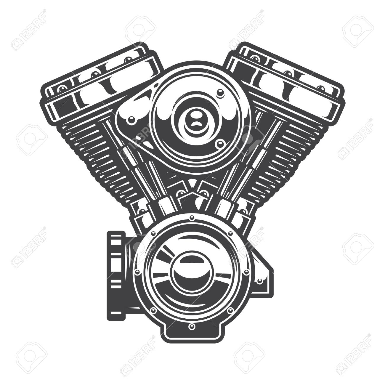 1300x1300 Illustration Of Motorcycle Engine. Monochrome Style Royalty Free