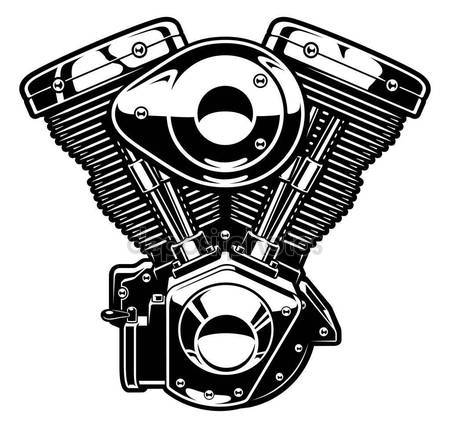 450x428 Monochrome Engine Of Motorcycle Stock Vector Kasyanov Creation