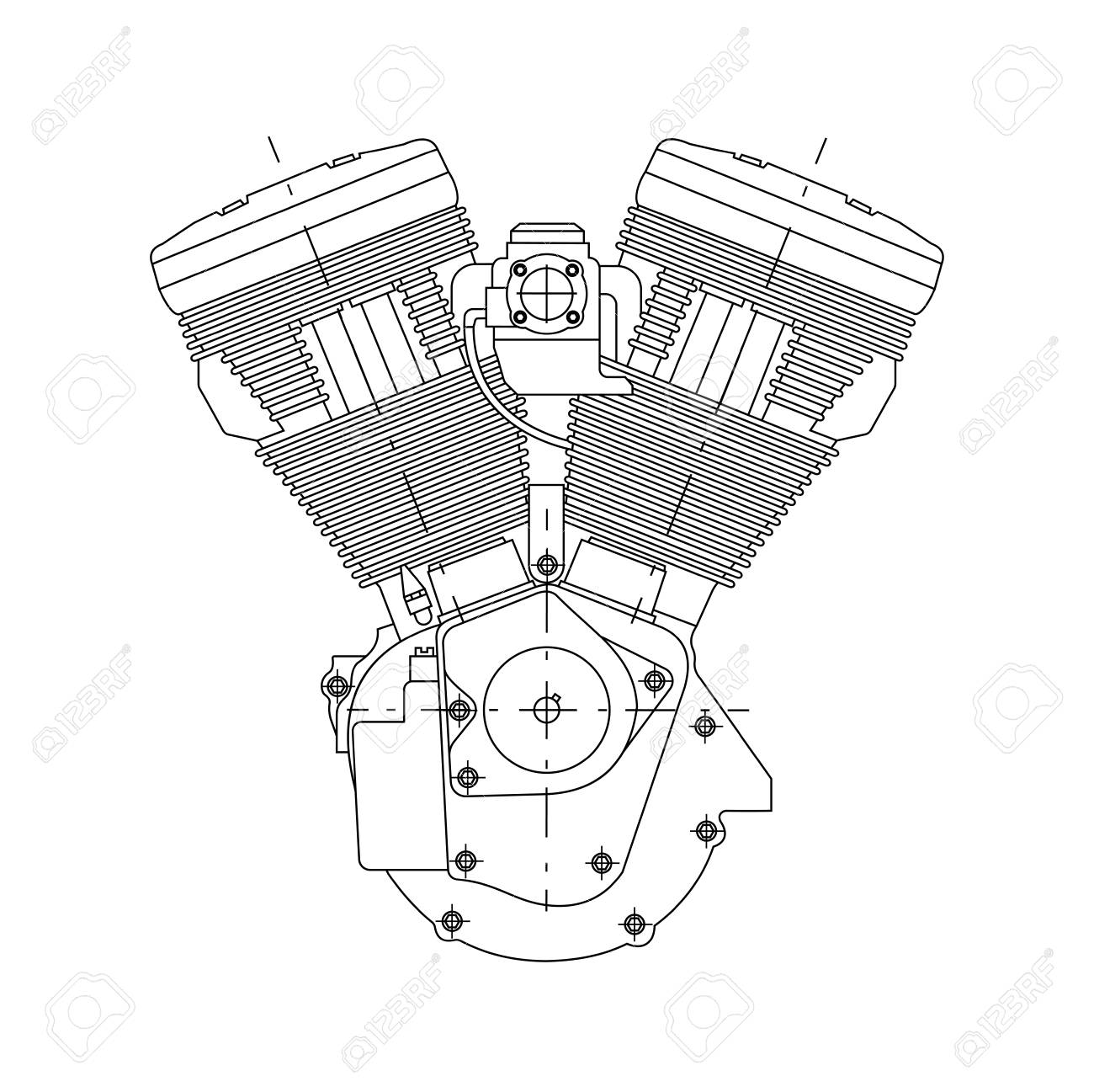 1300x1297 Technical Drawing Of The Engine Of The Motorcycle. Royalty Free