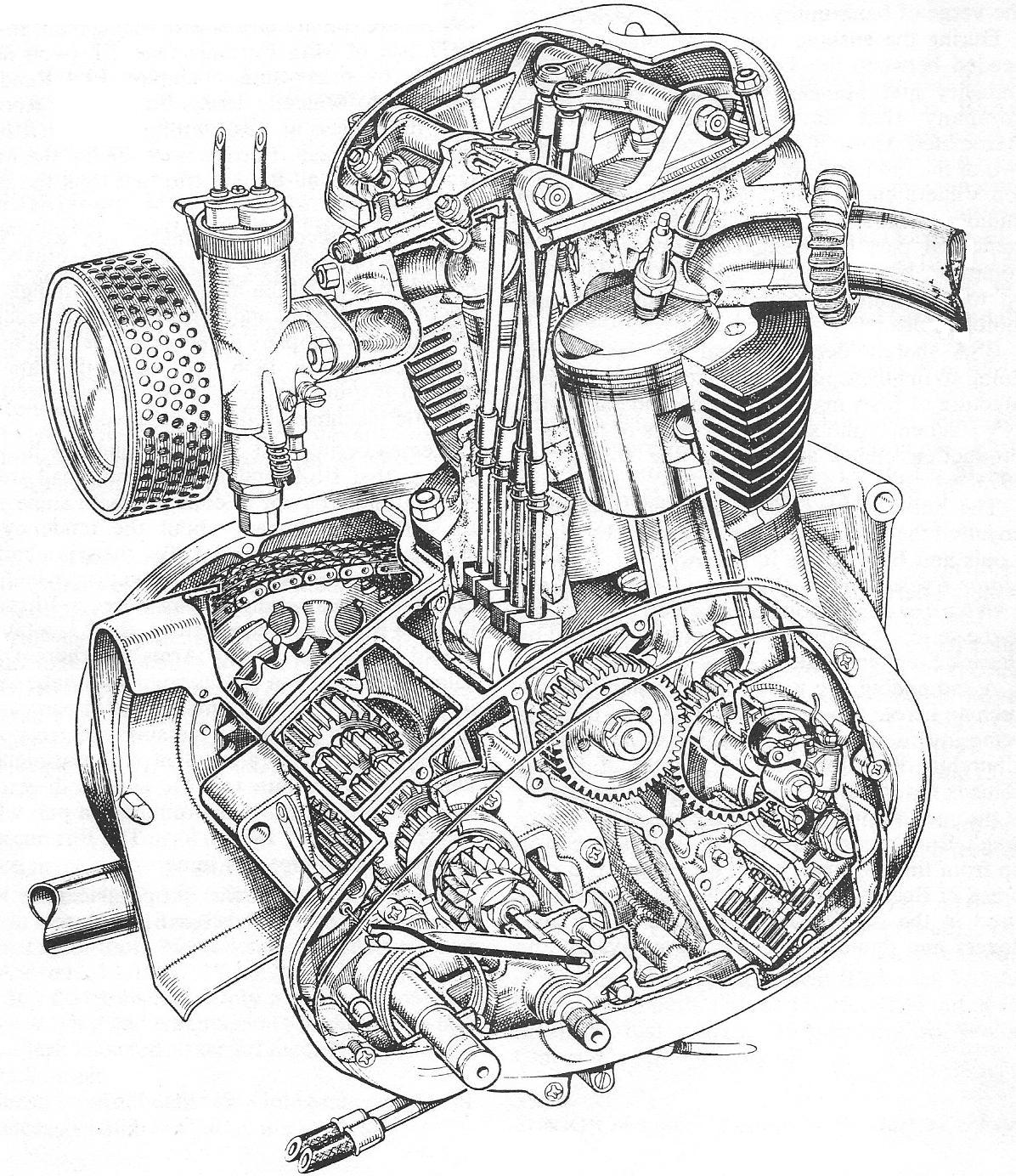 Motorcycle Engine Drawing at GetDrawings.com   Free for personal use ...