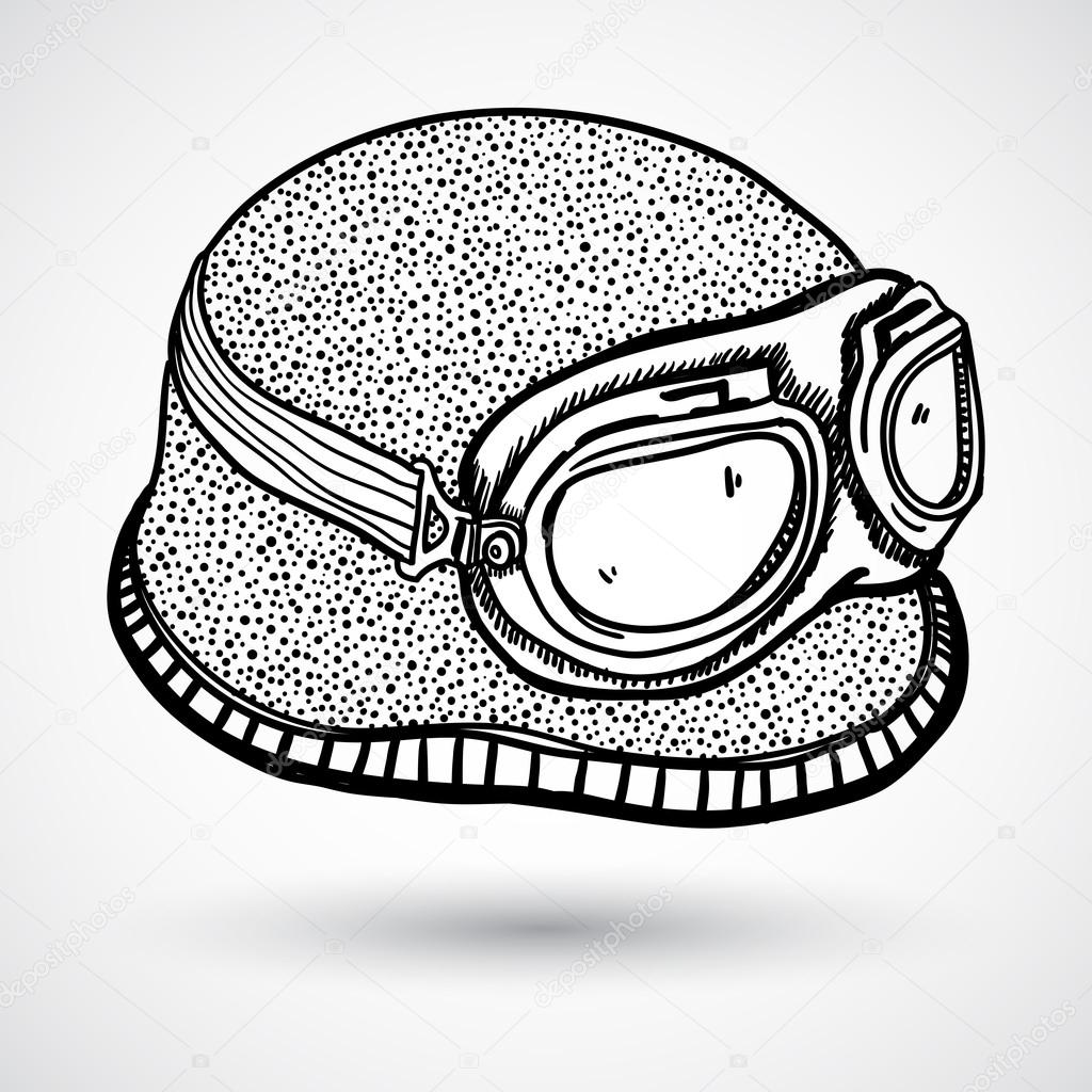 1024x1024 Retro Motorcycle Helmet And Goggles Stock Vector W1ndkh