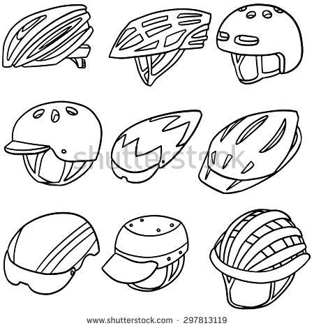 450x470 Bike Helmet Coloring Page Vector Set Of Bicycle Helmet Bicycle