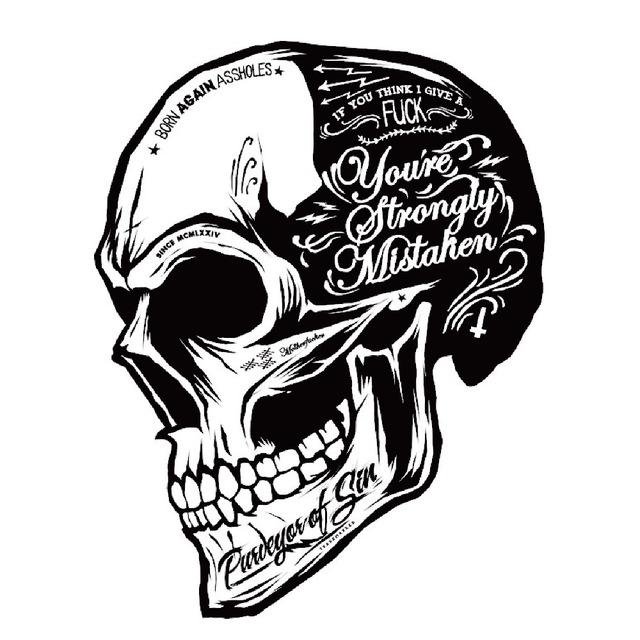 640x640 Black White Skull Cool Motorcycle Stickers Moto Decals Helmet