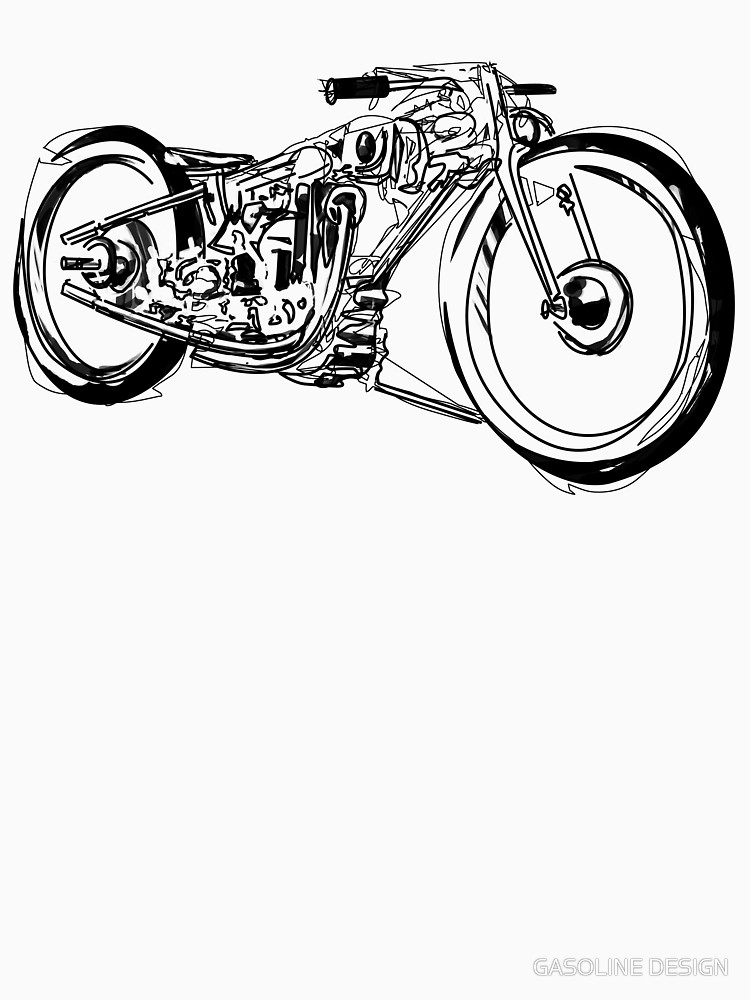 750x1000 Motorcycle Line Drawing Unisex T Shirt By Gasolinesk00t Redbubble
