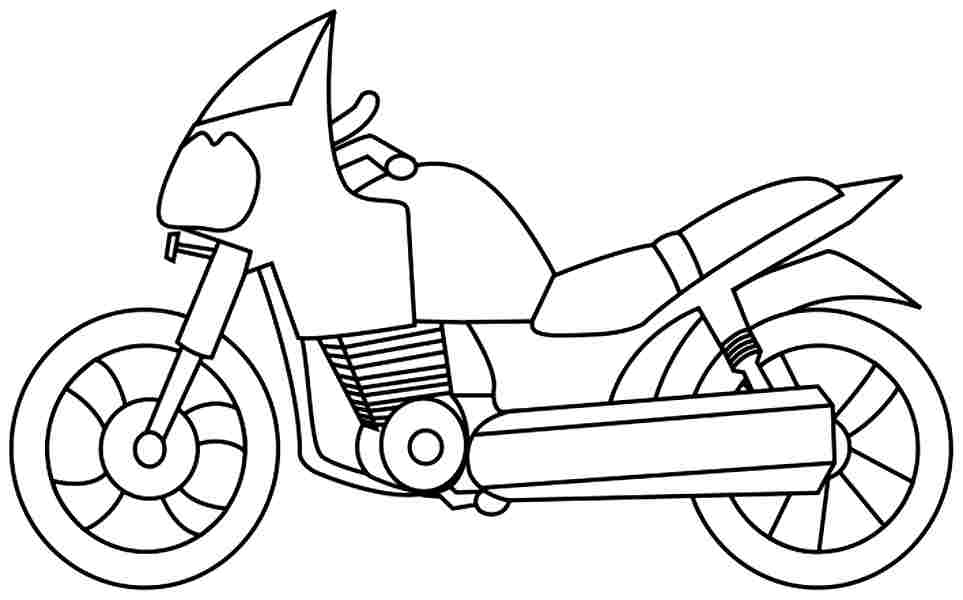 963x600 Motorcycle Clipart Coloring