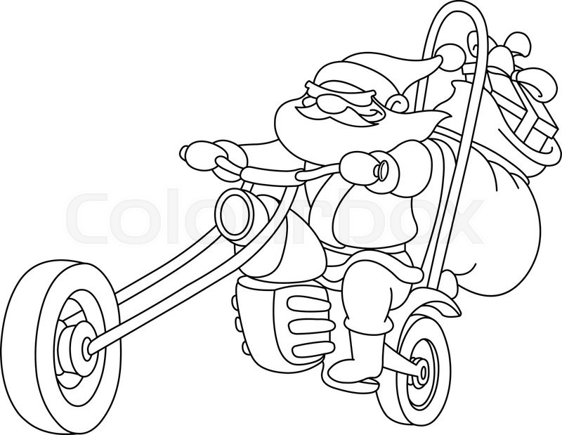 800x619 Outlined Santa On A Motorcycle. Vector, Illustration Coloring Page
