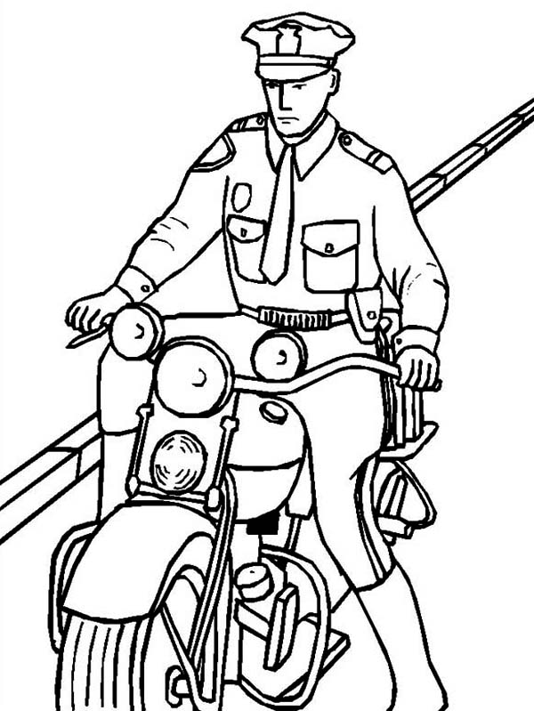 600x799 Police Officer Riding A Motorcycle Coloring Page