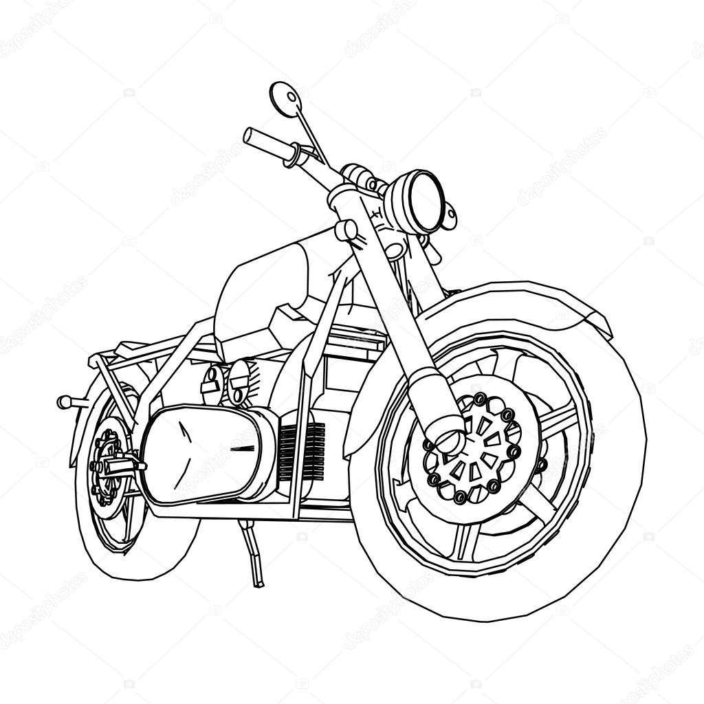 1024x1024 Road Bike. Motorcycle In The Contour Lines. Silhouette