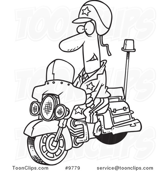 581x600 Cartoon Black And White Line Drawing Of A Motorcycle Cop