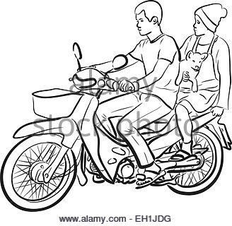 328x320 Drawing Of A Woman On A Motorcycle Stock Photo 69118077
