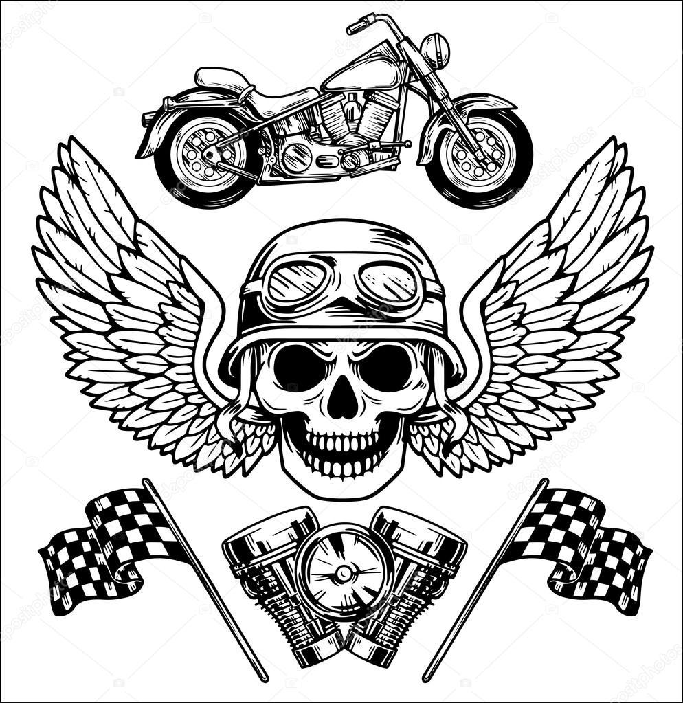 994x1023 Vector Biker Set Hand Drawn Elements Repair Garage Motorcycle