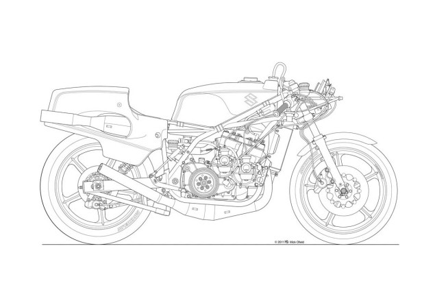 635x423 Motorcycle Line Drawing 01 Blueprints