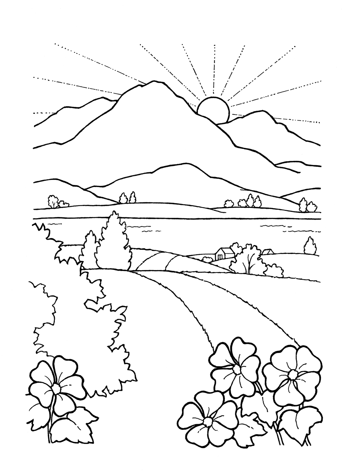 Mountain And Sun Drawing