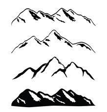 219x230 Mountain Ranges Mountain Range, Silhouettes And Watercolor