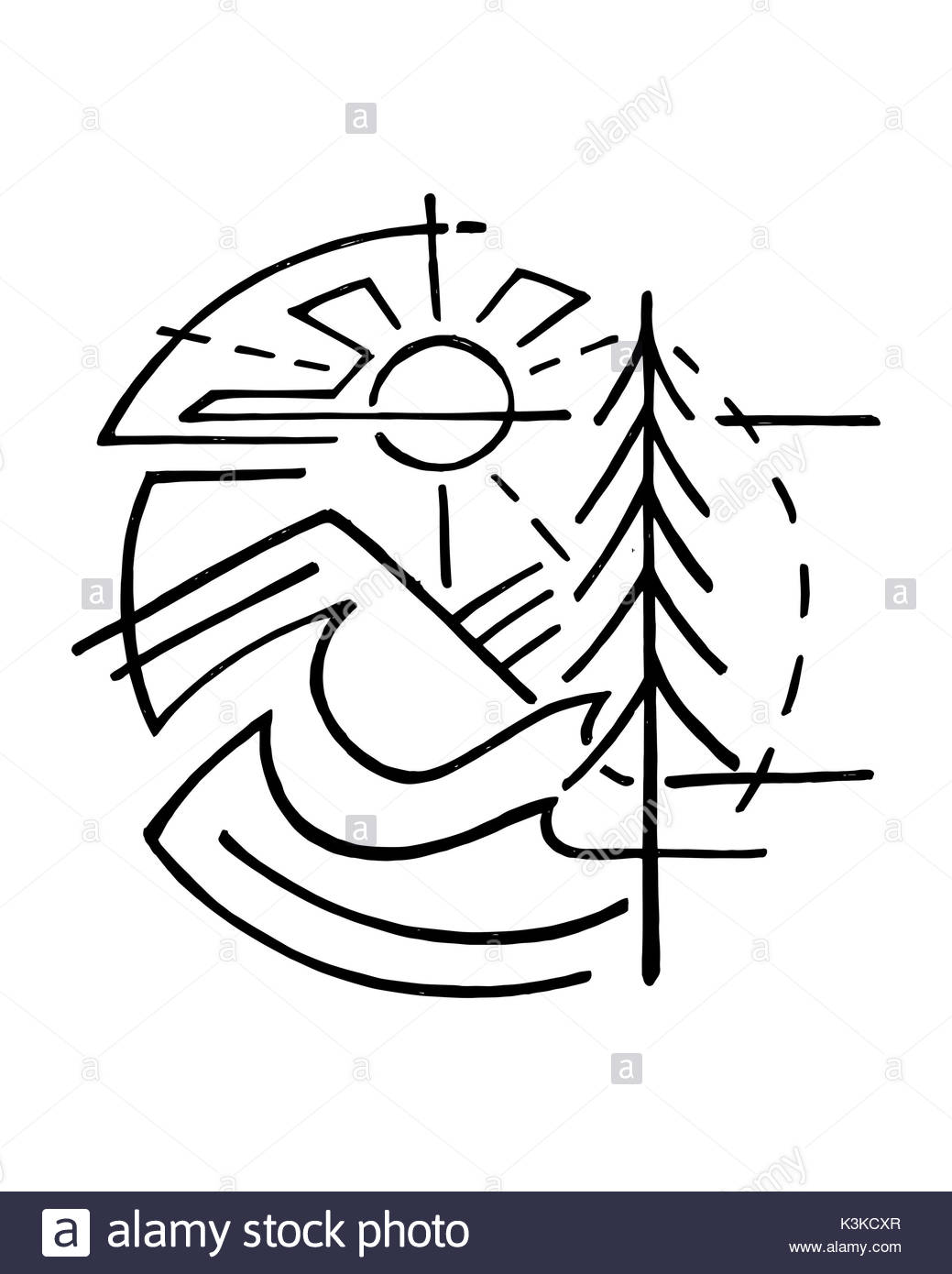 1039x1390 Mountain Sun Drawing Vector Illustration Stock Photos Amp Mountain