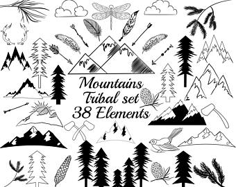340x270 Mountain Clipart Etsy