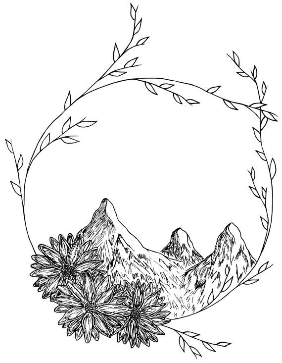 570x733 Mountain Wreath Drawing Wreaths, Etsy And Tattoo