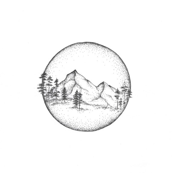 570x572 Mountains Circle Illustration Print Giclee Nature