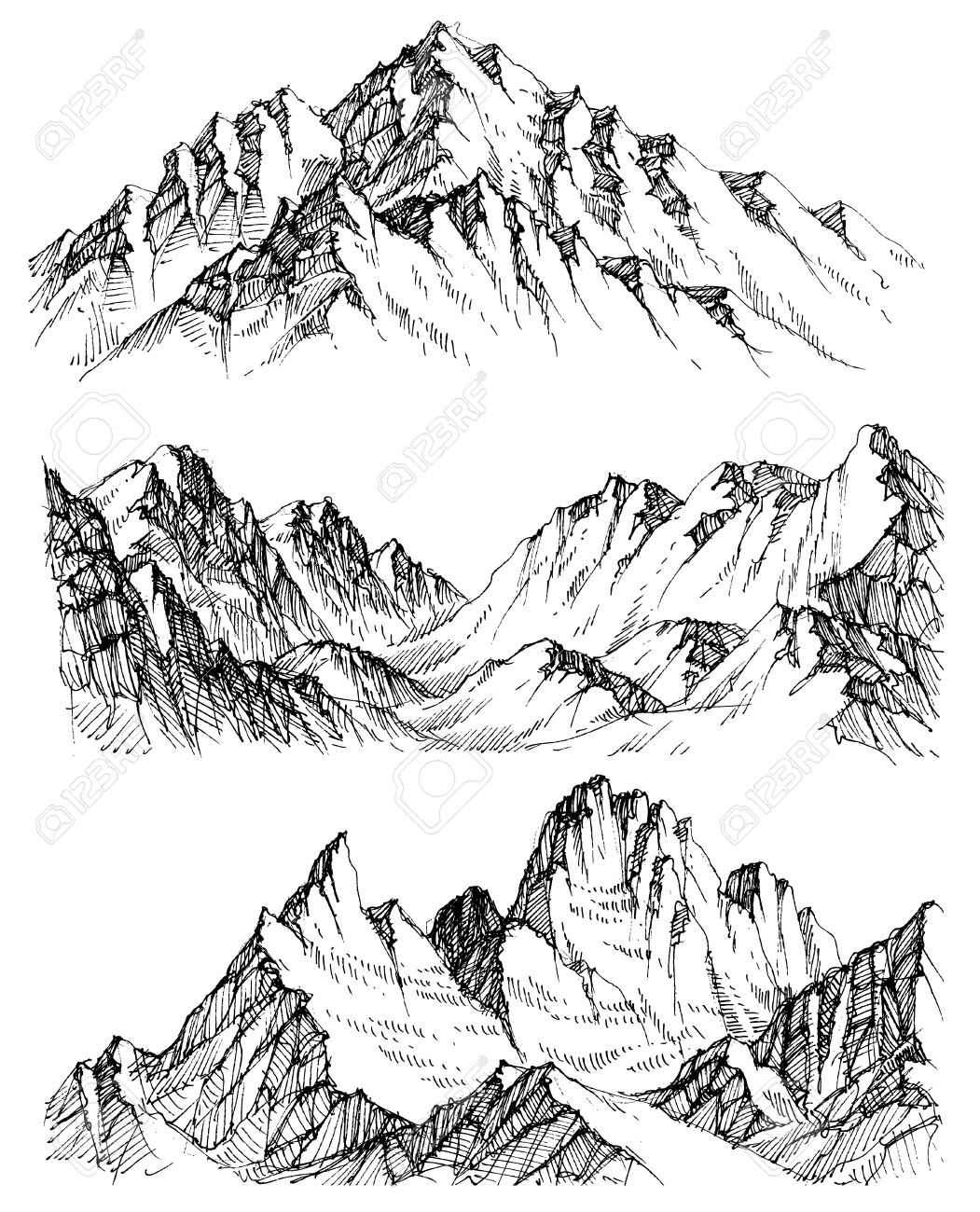 1051x1300 Mountains Vector Set. Hand Drawn Rocky Peaks Royalty Free Cliparts