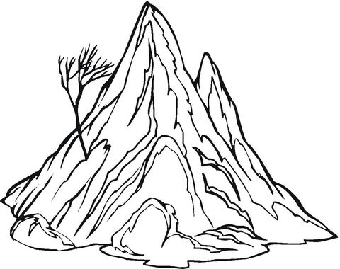 480x380 The Mountain And A Lonely, Naked Tree Coloring Page Free