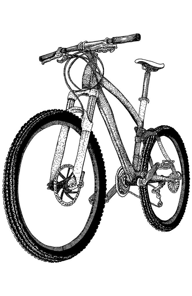 663x1024 Mountain Bike Drawing Illustrations By Karl Addison