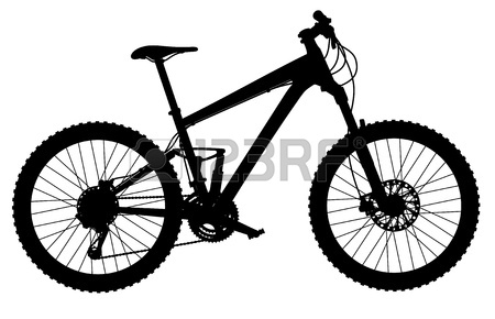 450x290 Silhouette Of Full Suspension Mountain Bike Royalty Free Cliparts