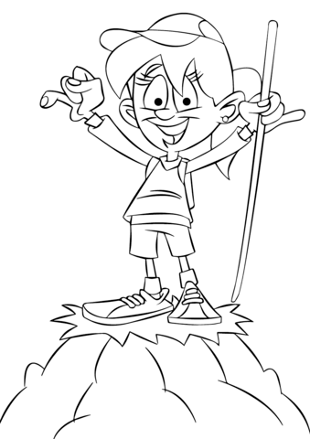 339x480 Girl Hiker On A Top Of A Mountain Coloring Page Free Printable